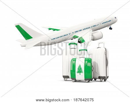 Luggage With Flag Of Norfolk Island. Three Bags With Airplane