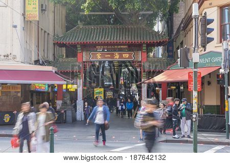Sydney, Australia - May 15, 2017: View of people visiting the Chinatown in Sydney. It is Australia's largest Chinatown.