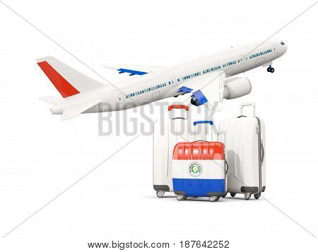 Luggage With Flag Of Paraguay. Three Bags With Airplane
