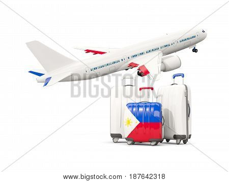 Luggage With Flag Of Philippines. Three Bags With Airplane