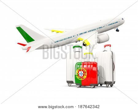 Luggage With Flag Of Portugal. Three Bags With Airplane