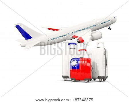 Luggage With Flag Of Taiwan. Three Bags With Airplane