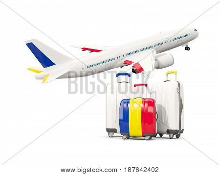 Luggage With Flag Of Romania. Three Bags With Airplane