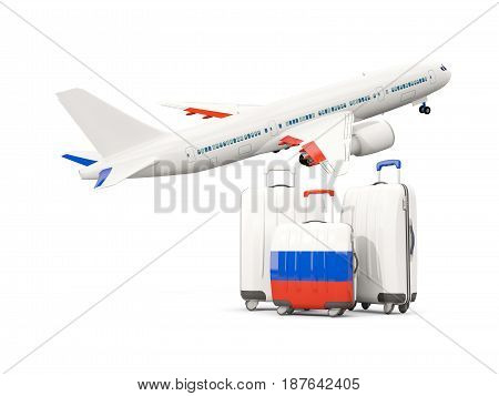Luggage With Flag Of Russia. Three Bags With Airplane