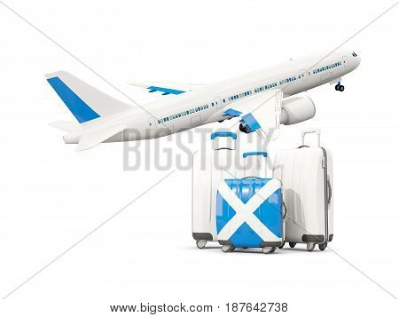 Luggage With Flag Of Scotland. Three Bags With Airplane