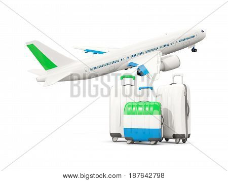 Luggage With Flag Of Sierra Leone. Three Bags With Airplane