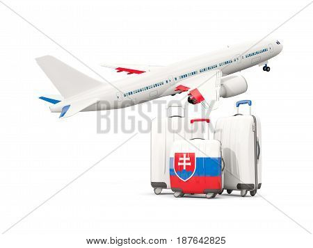 Luggage With Flag Of Slovakia. Three Bags With Airplane