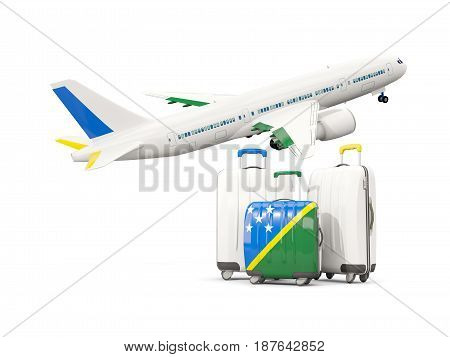 Luggage With Flag Of Solomon Islands. Three Bags With Airplane