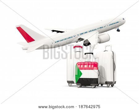 Luggage With Flag Of Sudan. Three Bags With Airplane