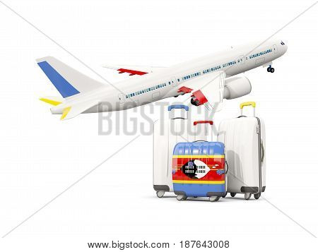 Luggage With Flag Of Swaziland. Three Bags With Airplane