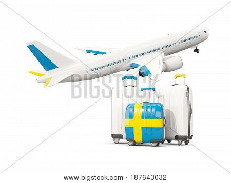 Luggage With Flag Of Sweden. Three Bags With Airplane