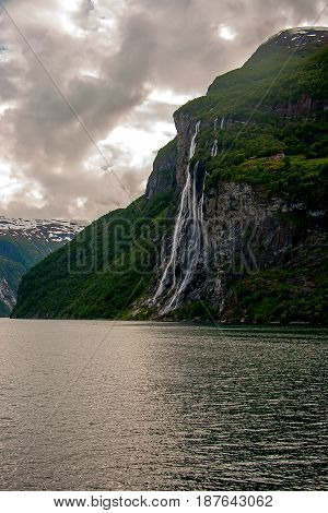 The beautiful Seven Sisters Waterfall, Geiranger Fjord, Norway