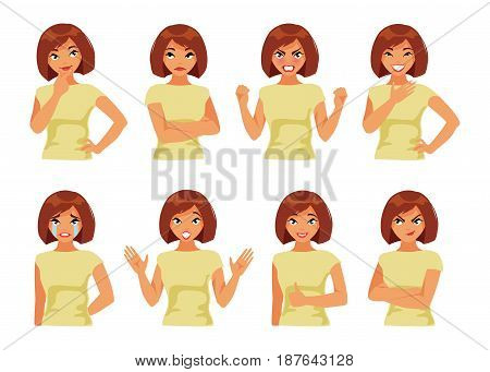 Collection of girl with different emotions on white background