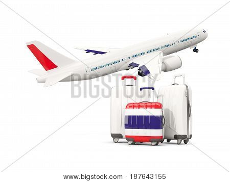 Luggage With Flag Of Thailand. Three Bags With Airplane