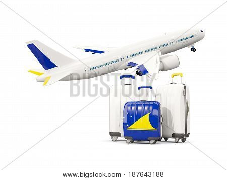 Luggage With Flag Of Tokelau. Three Bags With Airplane