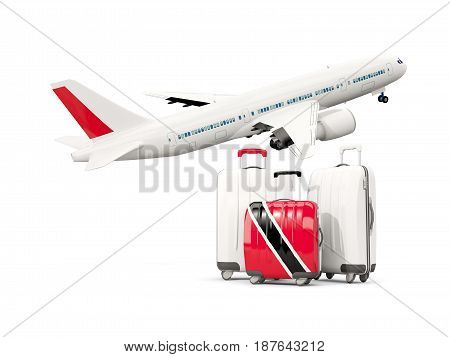 Luggage With Flag Of Trinidad And Tobago. Three Bags With Airplane