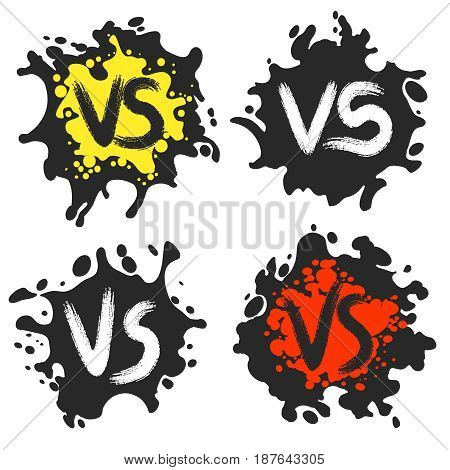 Versus fight labels on dirty blobs vector illustration. VS combat icons, ink stains with grunge letters isolated on white background