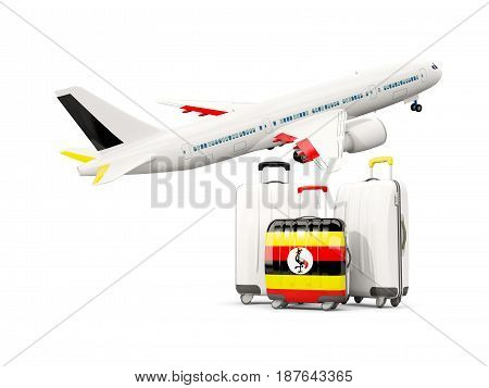 Luggage With Flag Of Uganda. Three Bags With Airplane
