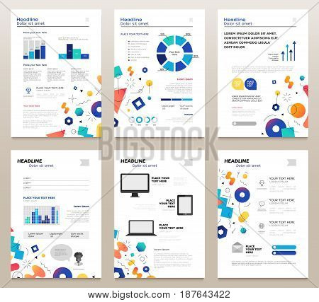 Presentation booklets - vector template a4 size pages with abstract memphis style background. Make your presentation count. Infographics, charts. Modern outlook with different shapes. Copy space for your information.