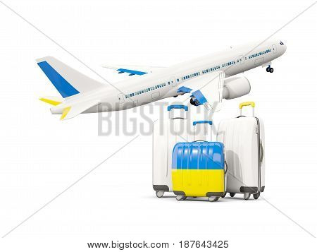 Luggage With Flag Of Ukraine. Three Bags With Airplane