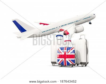 Luggage With Flag Of United Kingdom. Three Bags With Airplane