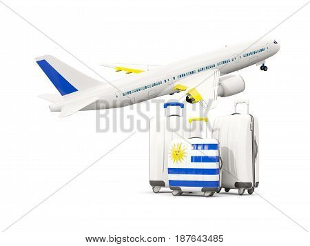 Luggage With Flag Of Uruguay. Three Bags With Airplane