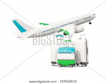 Luggage With Flag Of Uzbekistan. Three Bags With Airplane