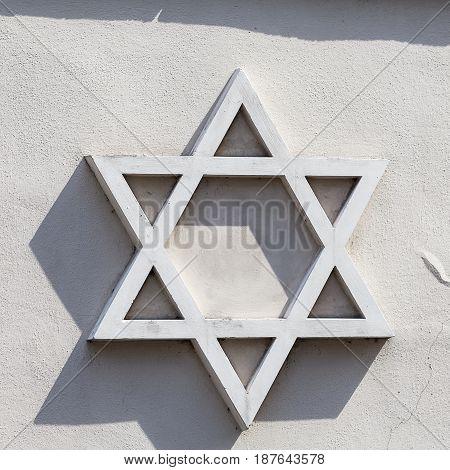 Star of David -relief on facade of synagogue Josefov Jewish quarter of Prague Czech Republic Europe