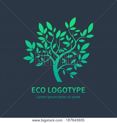 Green circle tree with leaves vector logo design template isoletad on dark background. Ayurvedic tree icon, vector symbol of natural lifestyle. Alternative massage symbol, ayurvedic spa design