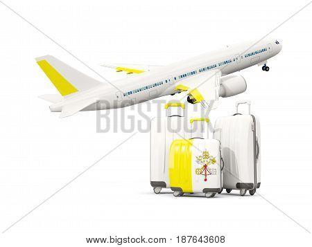 Luggage With Flag Of Vatican City. Three Bags With Airplane