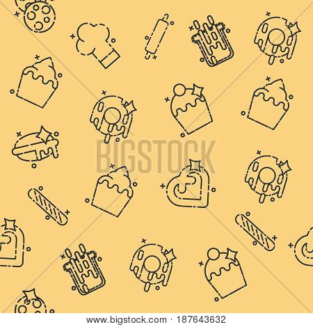 Bakery icons set pattern with sweet pastries products ingredients baker equipment isolated vector illustration
