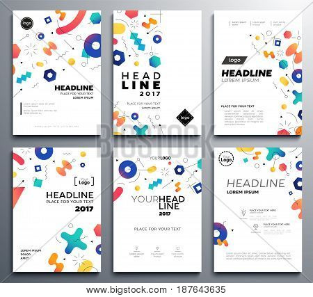 Presentation booklet covers - vector template a4 pages with abstract memphis style background. Make your presentation look good. Headline and topic. Modern outlook with different shapes. Copy space for your logo.