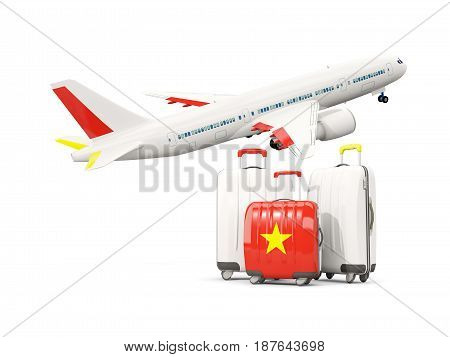 Luggage With Flag Of Vietnam. Three Bags With Airplane