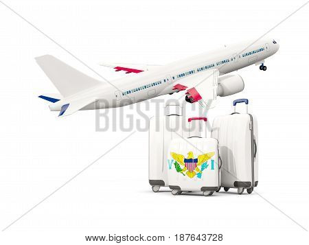 Luggage With Flag Of Virgin Islands Us. Three Bags With Airplane