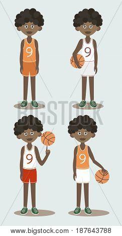 Basketball players set. Basketball players with ball isolated on light background