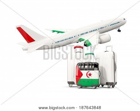 Luggage With Flag Of Western Sahara. Three Bags With Airplane