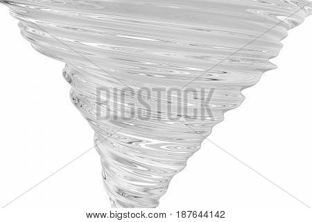 Realistic tornado swirl isolated on white background. 3D rendering