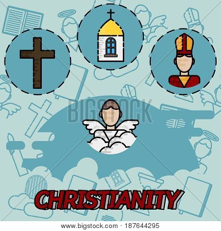 Christianity flat concept icons. Vector illustration, EPS 10