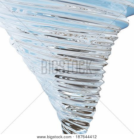 Abstract glass tornado isolated on white background. 3D rendering