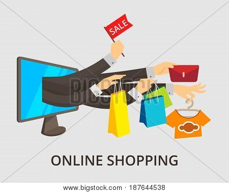 E-commerce concept minimal design, vector illustration in modern flat style. Business concept, on line shopping for web banners and info graphics. Computer with a lot of hands.