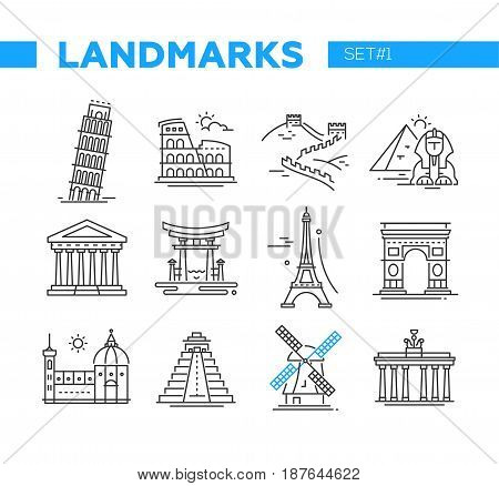 World Famous Landmarks - illustration of vector line design icons set. Isolated images of Pisa, Eiffel tower, Coliseum, Great Wall, Egyptian and Mayan Pyramids, Torii, Triumphal Arch, Dutch windmill, Florence Cathedral