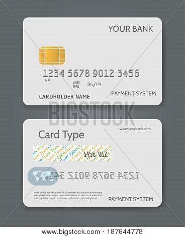 Bank credit card white template vector illustration. Blank plastic card for business identity isolated on background
