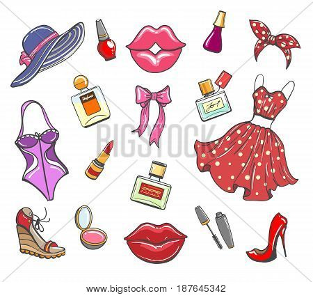 Girls fashion hand drawn elements. Sketch women accessories for makeup and ashionable look vector illustration