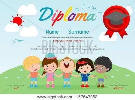 Certificate kids diploma, kindergarten template layout space background frame design vector. Diploma template for kindergarten students, education preschool concept.