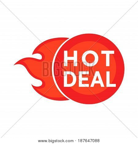 Vector illustration of ball with flames and hot deal words isolated on white.