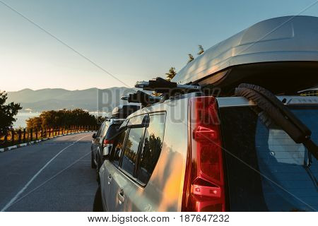 View from side of car overlooking scenic landscape road trip traveling by car concept Gelendzhik