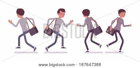 Set of young man and woman, casual dressing, grey longsleeve, skinny jeans, holding messenger bag, running pose, front, rear view, vector flat style cartoon illustration, isolated on white background