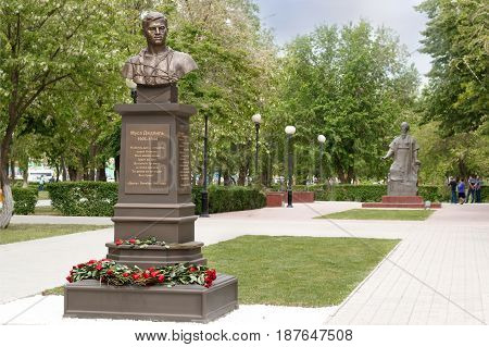 ASTRAKHAN - MAY 13: Monument of tatar poet hero of the Soviet Union Musa Mostafa Dzhalil. May 13 2017 in Astrakhan Russia.