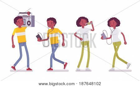 Set of Black or African American young sporty man and woman, walking, using phone, holding boombox, drinking, listening to music, vector flat style cartoon illustration, isolated, white background