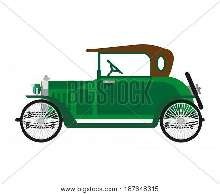 Vector illustration of green colored old vehicle isolated on white.